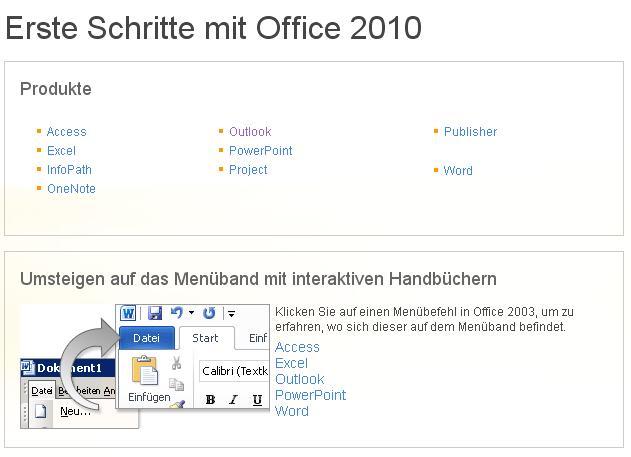 Teilausschnitt/Screenshot Microsofts Umstiegsangebot zu Office10