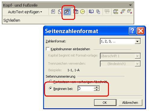 Abbildung Auswahlfenster Seitenzahlen formatieren