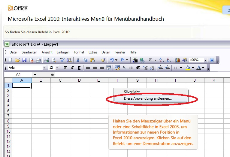 Abbildung am Beispiel von Excel, das interaktive Referenzhandbuch zu deinstallieren.