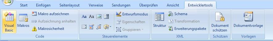 "Abbildung Registerkartendetails der Registerkarte ""Entwicklertools"""