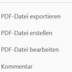 Ausschnitt Werkzeugfenster des Adobe Readers
